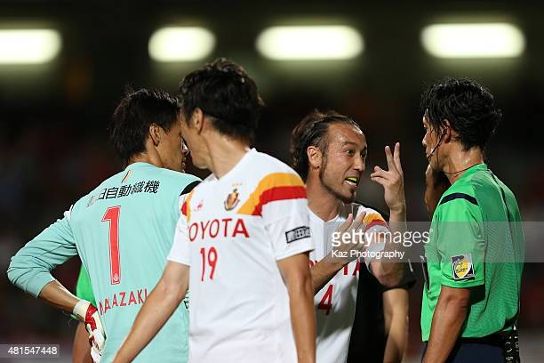 Marcus Tulio Tanaka of Nagoya Grampus argues with referee Futoshi Nakamura after receiving a red card during the JLeague match between Shimizu SPulse...