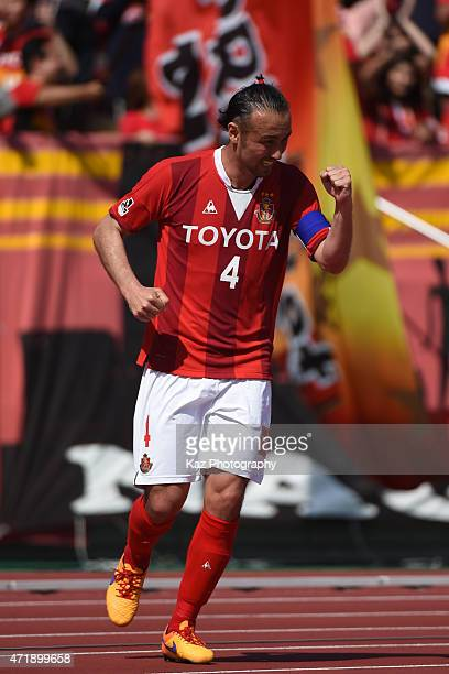 Marcus Tulio Tanaka of Nagoya Grampus celebrates 3rd goal during the JLeague match between Nagoya Grampus and Shonan Bellmare at Mizuho Stadium on...