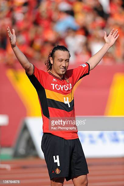 Marcus Tulio Tanaka of Nagoya Grampus celebrates the first goal during the Yamazaki Nabisco Cup semifinal match between Nagoya Grampus and Kashima...