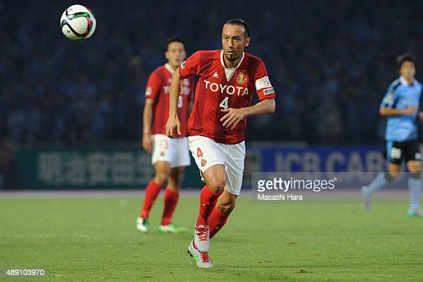 Marcus Tulio Tanaka of Nagoya Grampus in action during the JLeague match between Kawasaki Frontale and Nagoya Grampus at Kawasaki Todoroki Stadium on...