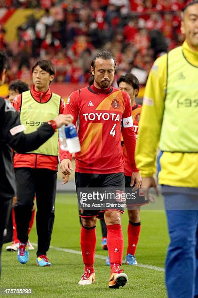 Marcus Tulio Tanaka of Nagoya Grampus looks dejected after the JLeague match between Nagoya Grampus and Shimizu SPulse on Toyota Stadium on March 1...