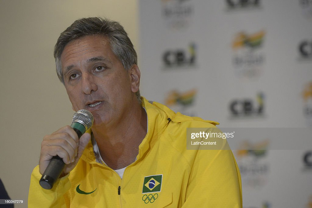 Marcus Vinicius Freire talks during the first official training season of the team, who will represent Brazil in the Olympic Games Rio 2016, at Maria Lenk Aquatic Center on January 29, 2013 in Rio de Janeiro, Brazil.