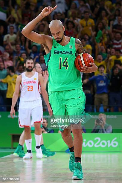Marcus Vinicius Marquinhos of Brazil celebrates after scoring the winning basket to defeat Spain 6665 during a preliminary round basketball gamel on...