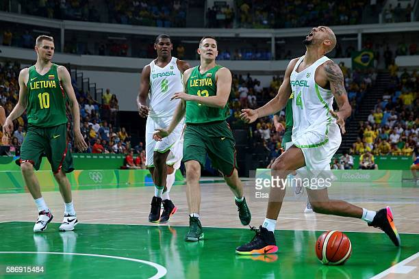 Marcus Vinicius Marquinhos of Brazil reacts during a Men's preliminary round basketball game between Brazil and Lithuania on Day 2 of the Rio 2016...