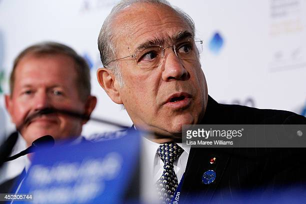 Marcus Wallenberg Chairman SEB AB and Angel Gurria SecretaryGeneral OECD attend a press conference during the B20 Summit at on July 18 2014 in Sydney...