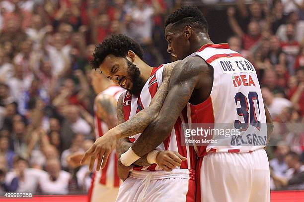 Marcus Williams #3 of Crvena Zvezda Telekom Belgrade and Quincy Miller #30 of Crvena Zvezda Telekom Belgrade celebrate during the Turkish Airlines...