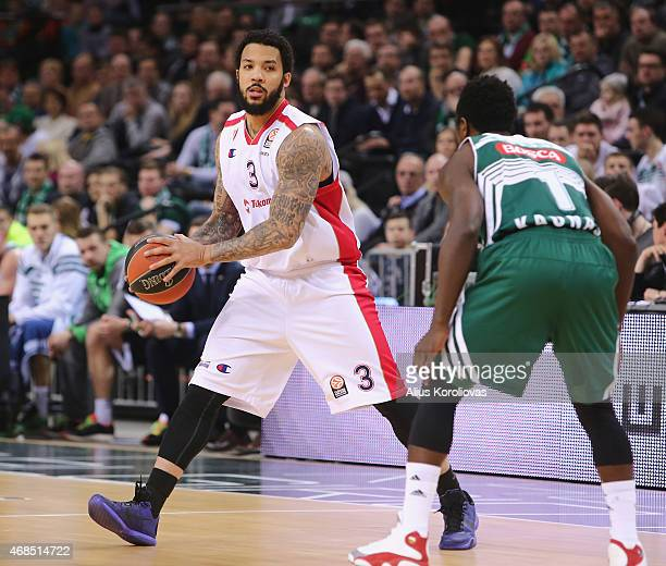 Marcus Williams #3 of Crvena Zvezda Telekom Belgrade competes with Will Cherry #1 of Zalgiris Kaunas in action during the Turkish Airlines Euroleague...