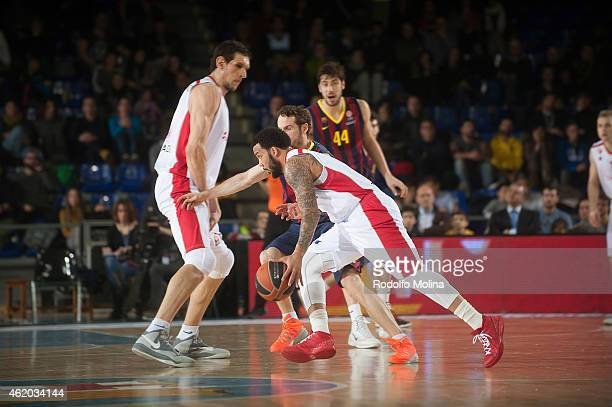 Marcus Williams #3 of Crvena Zvezda Telekom Belgrade in action during the Euroleague Basketball Top 16 Date 4 game between FC Barcelona v Crvena...