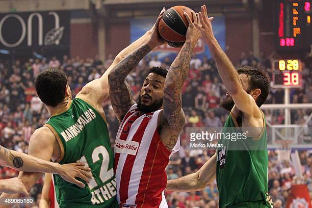 Marcus Williams #3 of Crvena Zvezda Telekom Belgrade in action during the Turkish Airlines Euroleague Basketball Top 16 Date 14 game between Crvena...