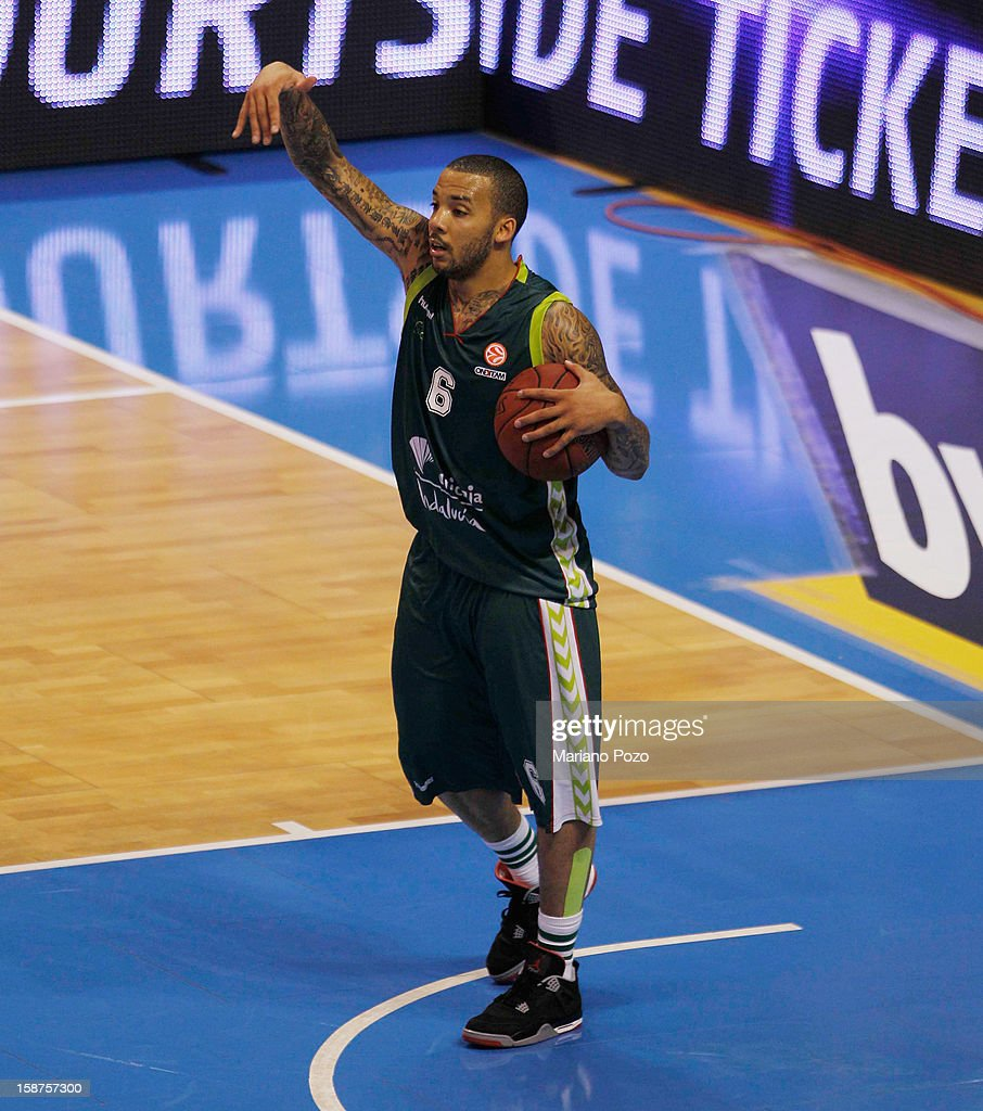 Marcus Williams, #6 of Unicaja Malaga in action during the 2012-2013 Turkish Airlines Euroleague Top 16 Date 1 between Unicaja Malaga v Brose Baskets Bamberg at Palacio Deportes Martin Carpena on December 27, 2012 in Malaga, Spain.