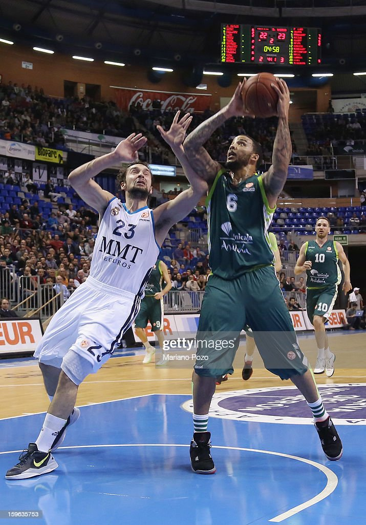 Marcus Williams, #6 of Unicaja Malaga in action during the 2012-2013 Turkish Airlines Euroleague Top 16 Date 4 between Unicaja Malaga v Real Madrid at Palacio Deportes Martin Carpena on January 17, 2013 in Malaga, Spain.
