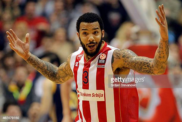 Marcus Williams of Crvena Zvezda Telekom reacts during the 20142015 Turkish Airlines Euroleague Top 16 round match between Crvena Zvezda Telekom...