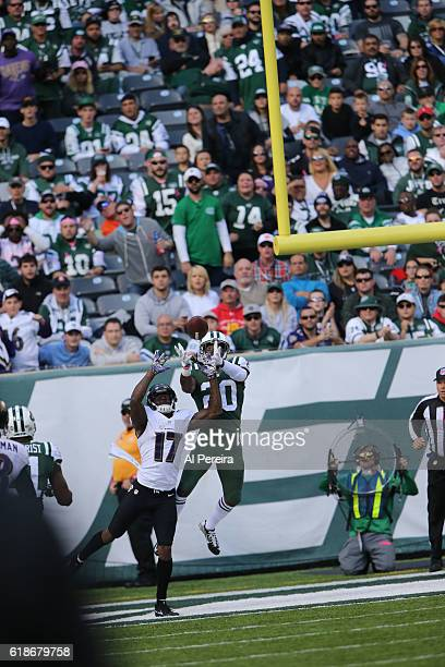 Marcus Williams of the New York Jets breaks up an end zone pass against the Baltimore Ravens during their game at MetLife Stadium on October 23 2016...