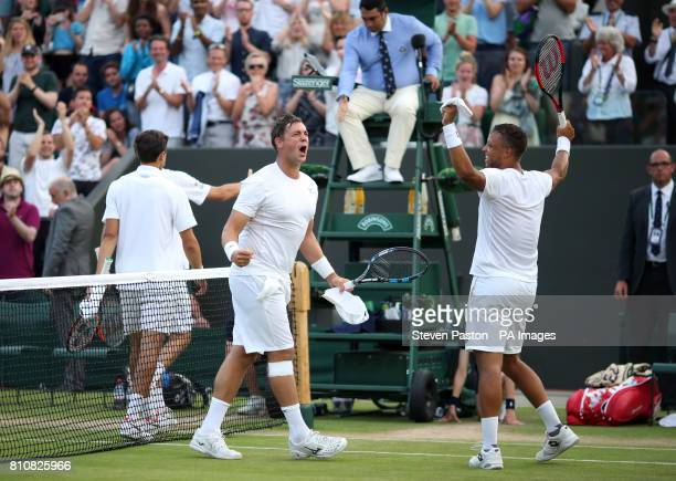 Marcus Willis and Jay Clarke celebrate their doubles win over PierreHugues Herbert and Nicolas Mahut on day six of the Wimbledon Championships at The...