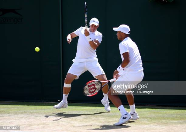 Marcus Willis and Jay Clarke during their doubles match on day seven of the Wimbledon Championships at The All England Lawn Tennis and Croquet Club...