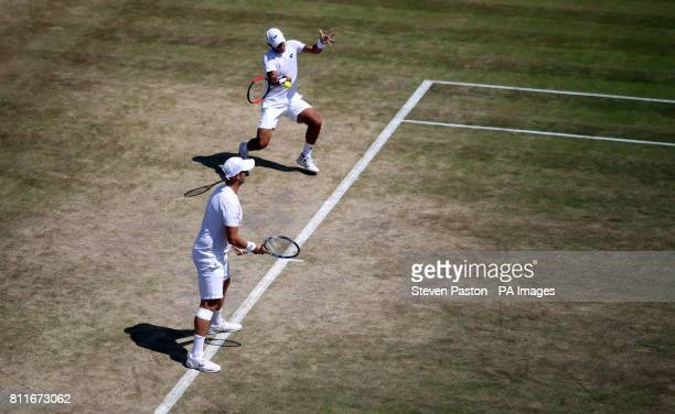 Marcus Willis and Jay Clarke in action in the men's doubles against Oliver Marach and Mate Pavic on day seven of the Wimbledon Championships at The...