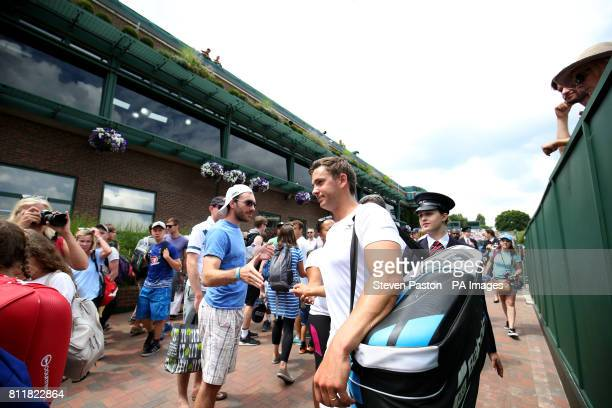 Marcus Willis leaves court after his doubles match with Jay Clarke on day seven of the Wimbledon Championships at The All England Lawn Tennis and...