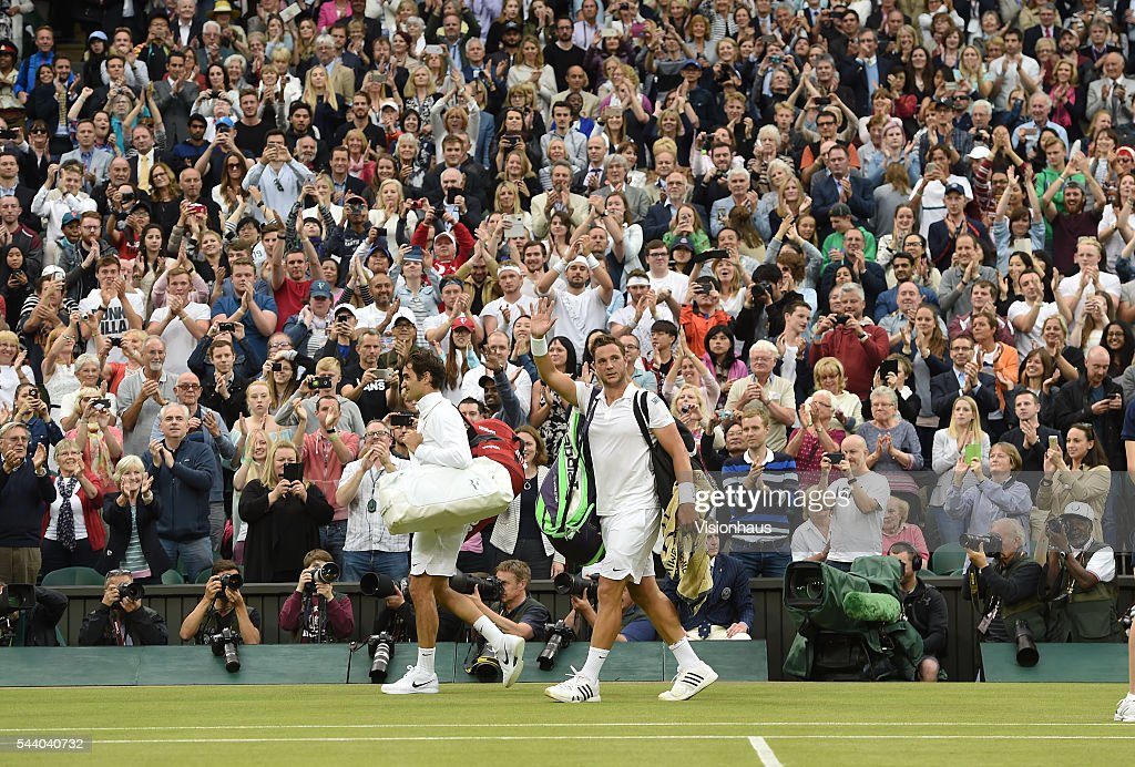 Marcus Willis of Great Britain acknowledges the fans after his second round match against Roger Federer of Switzerland at Wimbledon on June 29, 2016 in London, England.