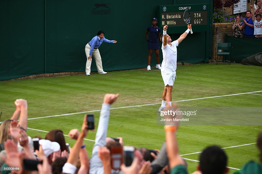 Marcus Willis of Great Britain celebrates victory during the Men's Singles first round match against Ricardas Berankis of Lithuania on day one of the Wimbledon Lawn Tennis Championships at the All England Lawn Tennis and Croquet Club on June 27th, 2016 in London, England.