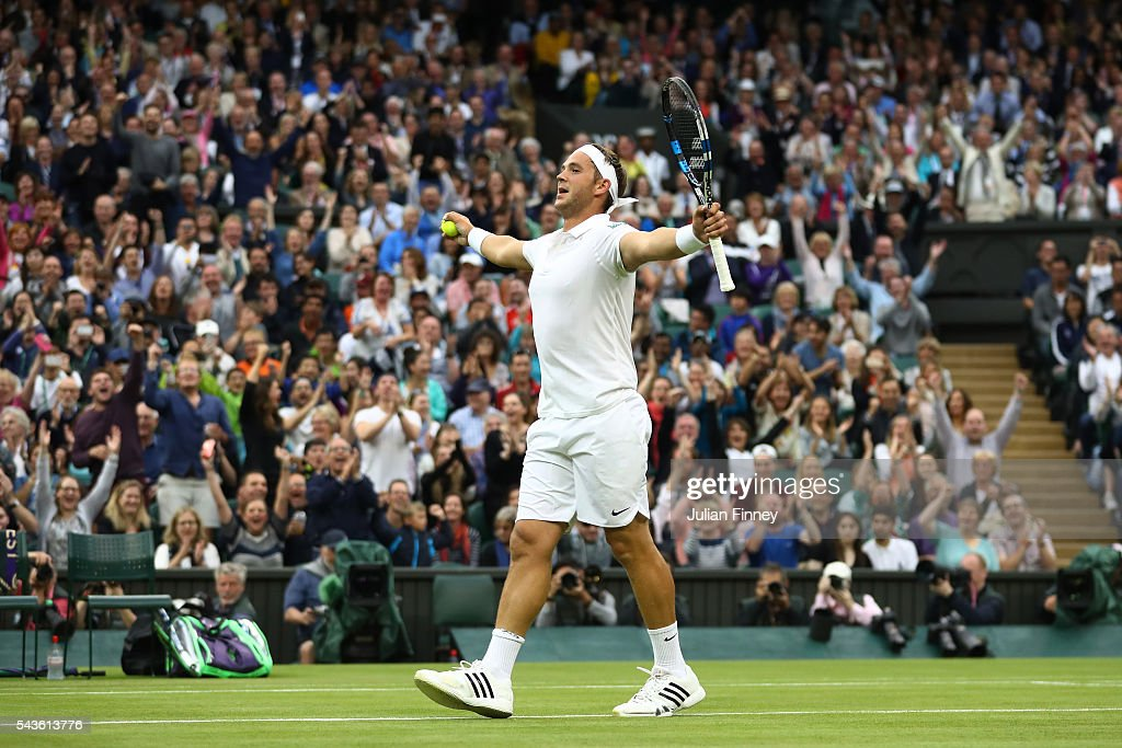 <a gi-track='captionPersonalityLinkClicked' href=/galleries/search?phrase=Marcus+Willis+-+Tennis+Player&family=editorial&specificpeople=16082201 ng-click='$event.stopPropagation()'>Marcus Willis</a> of Great Britain celebrates winnig a point during the Men's Singles second round match against Roger Federer of Switzerland on day three of the Wimbledon Lawn Tennis Championships at the All England Lawn Tennis and Croquet Club on June 29, 2016 in London, England.
