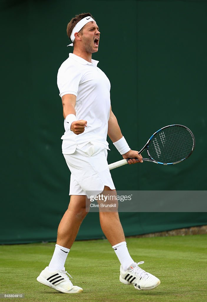 Marcus Willis of Great Britain celebrates winning the first set during the Men's Singles first round match against Ricardas Berankis of Lithuania on day one of the Wimbledon Lawn Tennis Championships at the All England Lawn Tennis and Croquet Club on June 27th, 2016 in London, England.