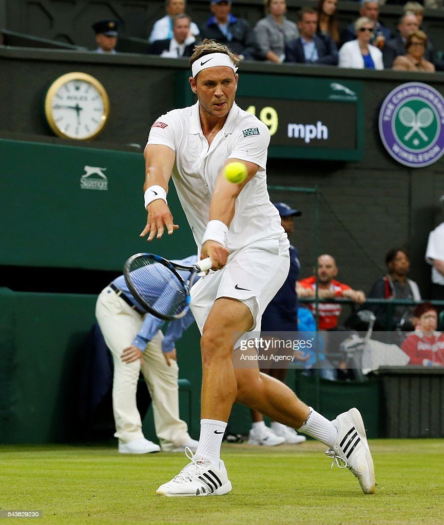 Marcus Willis of Great Britain in action against Roger Federer (not seen) of Switzerland in the men's Singles on day three of the 2016 Wimbledon Championships at the All England Lawn and Croquet Club in London, United Kingdom on June 29, 2016.