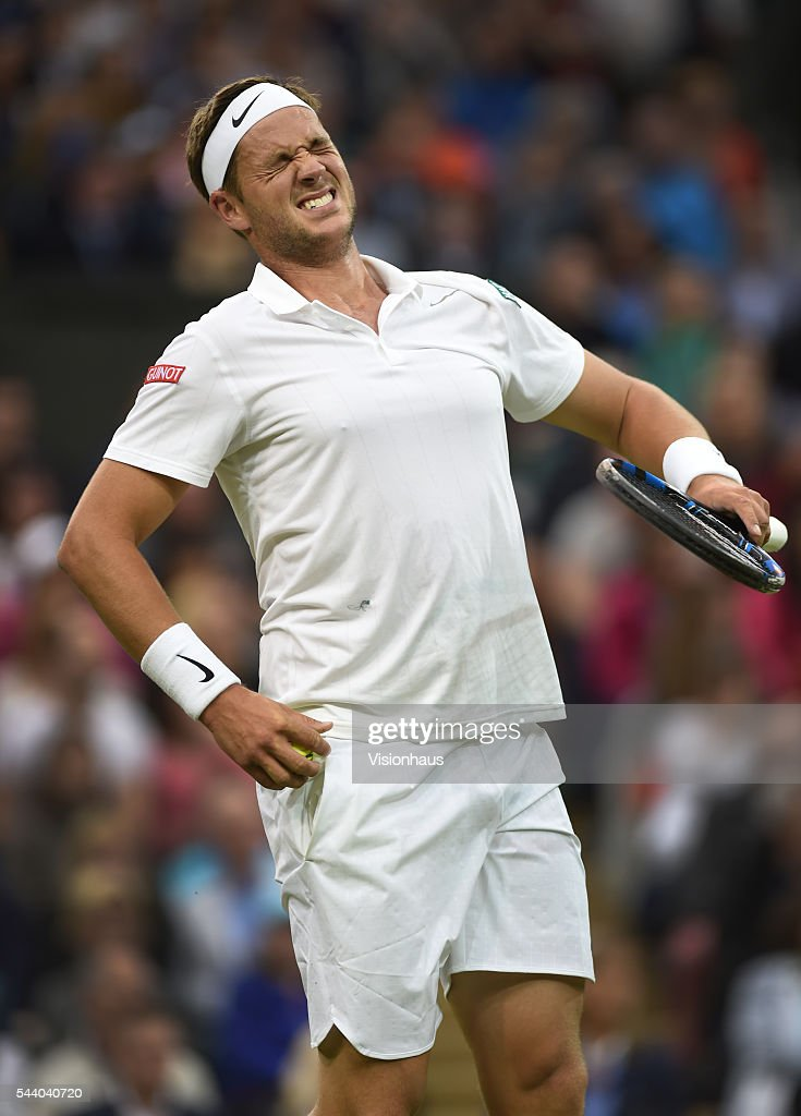 Marcus Willis of Great Britain in action during his second round match against Roger Federer of Switzerland at Wimbledon on June 29, 2016 in London, England.