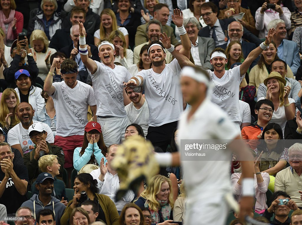 Marcus Willis of Great Britain is cheered on by his fans during his second round match against Roger Federer of Switzerland at Wimbledon on June 29, 2016 in London, England.