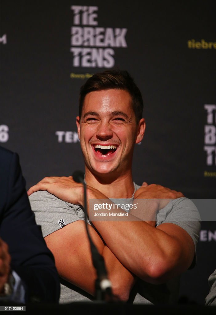 Marcus Willis of Great Britain laughs during a press conference ahead of Tie Break Tens at Wiener Stadthalle on October 23, 2016 in Vienna, Austria.