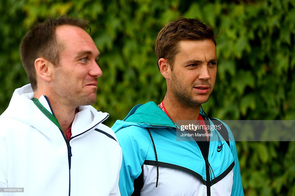 <a gi-track='captionPersonalityLinkClicked' href=/galleries/search?phrase=Marcus+Willis+-+Tennis+Player&family=editorial&specificpeople=16082201 ng-click='$event.stopPropagation()'>Marcus Willis</a> of Great Britain makes his way to centre court to face Roger Federer of Switzerland on day three of the Wimbledon Lawn Tennis Championships at the All England Lawn Tennis and Croquet Club on June 29, 2016 in London, England.