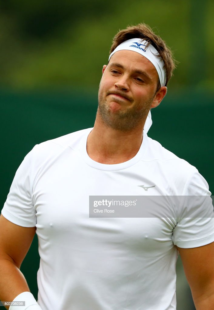 Marcus Willis of Great Britain reacts during his singles qualifying match against Liam Broady of Great Britain during the 2017 Wimbledon qualifying session on June 28, 2017 in London, England.