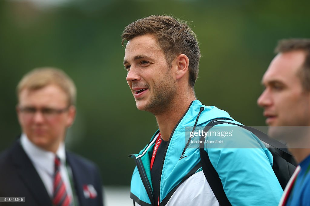 Marcus Willis of Great britain walks to the practice courts on day two of the Wimbledon Lawn Tennis Championships at the All England Lawn Tennis and Croquet Club on June 28, 2016 in London, England.