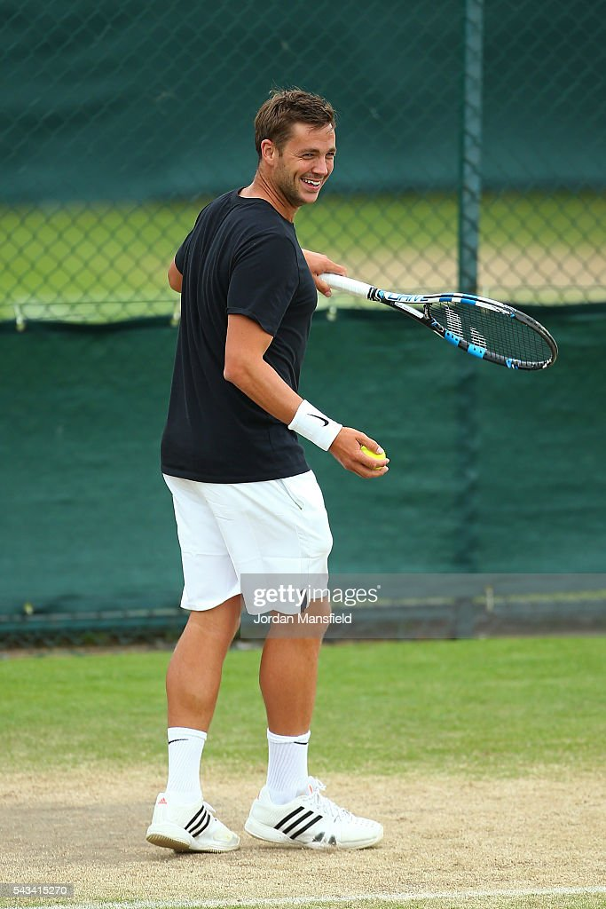 Marcus Willis of Great Britain warms up on the practice courts on day two of the Wimbledon Lawn Tennis Championships at the All England Lawn Tennis and Croquet Club on June 28, 2016 in London, England.