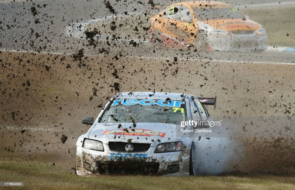 Marcus Zukanovic driving the Action Racing Holden runs off the track during race two of round five of the Dunlop Development Series at Winton Motor...
