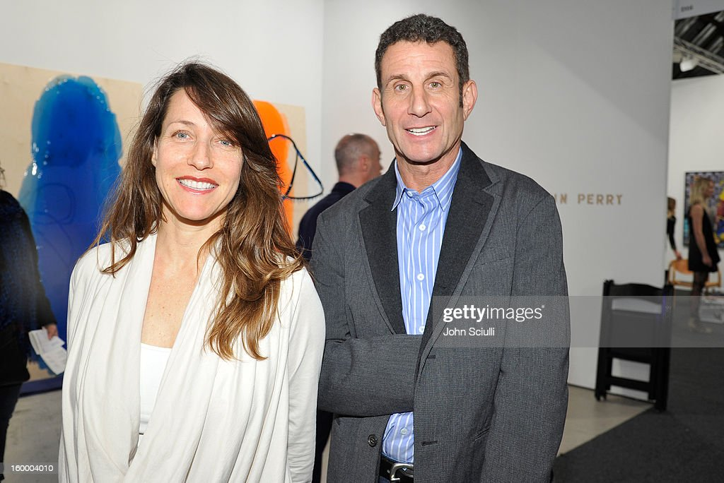 Marcy Friedman (L) and Mark Sandelson attend Art Los Angeles Contemporary opening night at Barker Hangar on January 24, 2013 in Santa Monica, California.