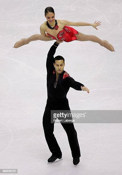 Marcy Hinzmann and Aaron Parchem of United States compete in the Pairs Free Skating Figure Skating during Day 3 of the Turin 2006 Winter Olympic...
