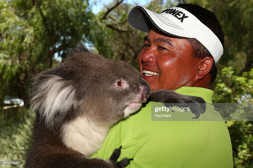 <a gi-track='captionPersonalityLinkClicked' href=/galleries/search?phrase=Mardan+Mamat&family=editorial&specificpeople=220766 ng-click='$event.stopPropagation()'>Mardan Mamat</a> of Singapore holds Sunshine the koala during day two of the 2016 Perth International at Karrinyup GC on February 26, 2016 in Perth, Australia.