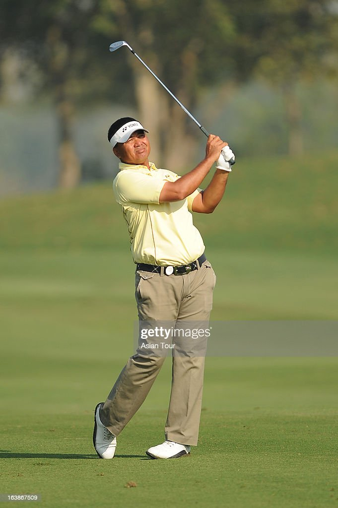 Mardan Mamat of Singapore in action during day 4 of the Avantha Masters at Jaypee Greens Golf Course on March 17 2013 in Noida India