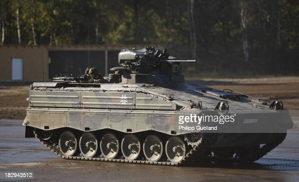 Marder armoured troop carrier is seen during the annual military exercises held for the media at the Bergen military training grounds on October 2...