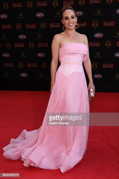 Mardi Dangerfield wife of Patrick Dangerfield of the Cats arrives ahead of the 2017 Brownlow Medal at Crown Entertainment Complex on September 25...