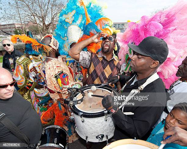 Mardi Gras Indians participate in a second line parade following the funeral of Theodore Emile 'Bo' Dollis Big Chief of the Wild Magnolias at Xavier...