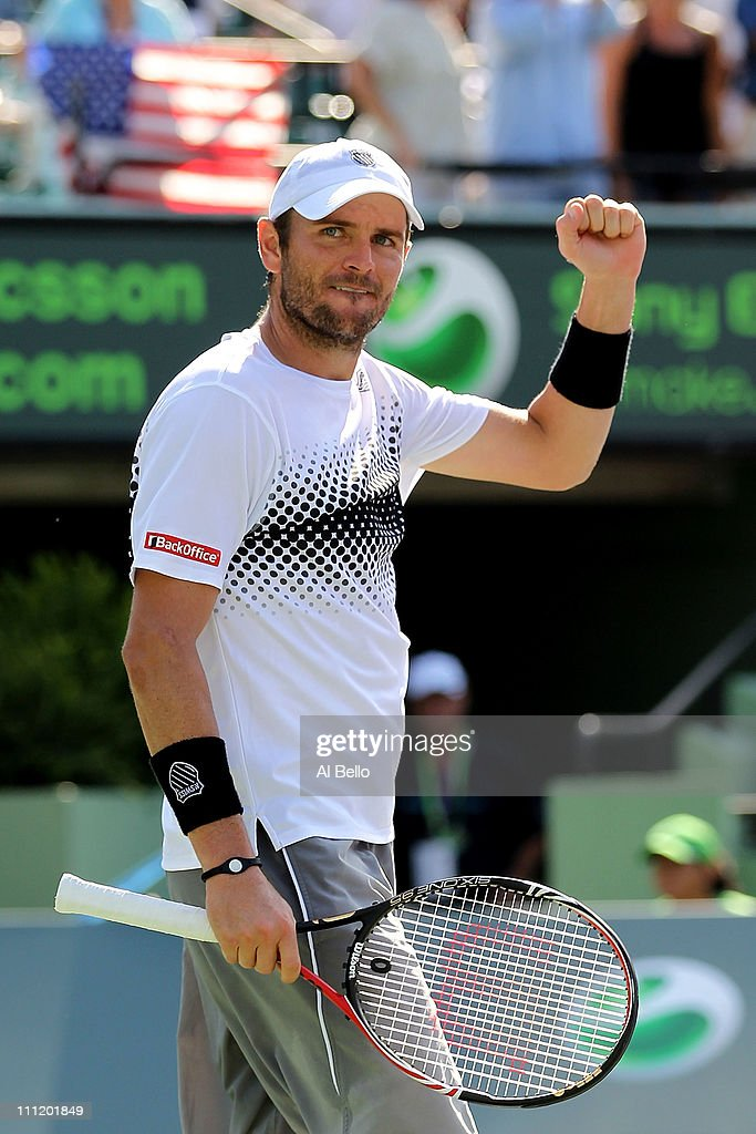<a gi-track='captionPersonalityLinkClicked' href=/galleries/search?phrase=Mardy+Fish&family=editorial&specificpeople=206218 ng-click='$event.stopPropagation()'>Mardy Fish</a> celebrates after he won match point against David Ferrer of Spain during the Sony Ericsson Open at Crandon Park Tennis Center on March 30, 2011 in Key Biscayne, Florida.