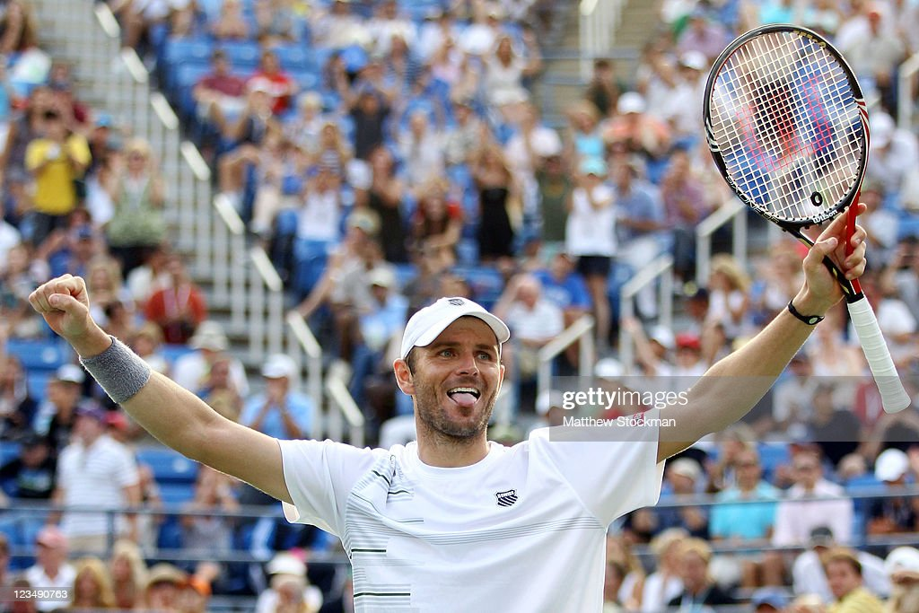<a gi-track='captionPersonalityLinkClicked' href=/galleries/search?phrase=Mardy+Fish&family=editorial&specificpeople=206218 ng-click='$event.stopPropagation()'>Mardy Fish</a> of the United States celebrates after defeating Kevin Anderson of South Africa during Day Six of the 2011 US Open at the USTA Billie Jean King National Tennis Center on September 3, 2011 in the Flushing neighborhood of the Queens borough of New York City.