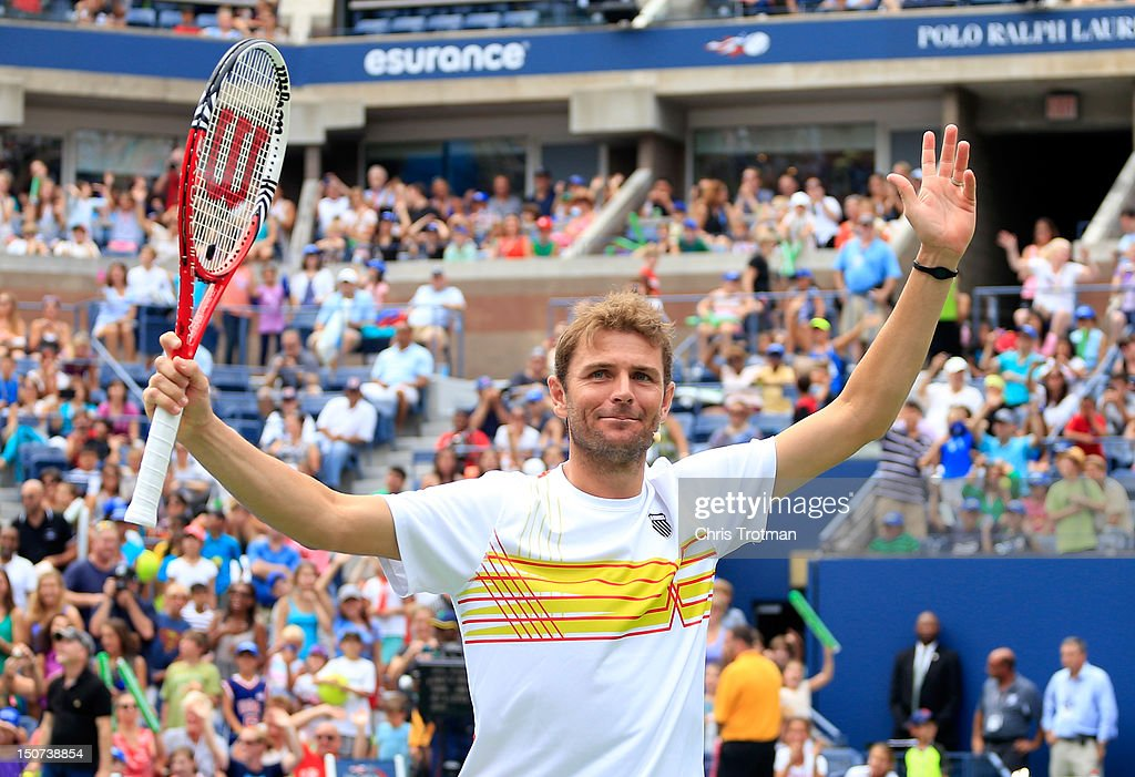 <a gi-track='captionPersonalityLinkClicked' href=/galleries/search?phrase=Mardy+Fish&family=editorial&specificpeople=206218 ng-click='$event.stopPropagation()'>Mardy Fish</a> reacts during the Stadium Show on Arthur Ashe Kids' Day prior to the start of the 2012 U.S. Open at the USTA Billie Jean King National Tennis Center on August 25, 2012 in the Flushing neighborhood, of the Queens borough of New York City.