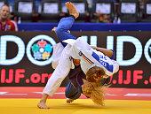 Mareen Kraeh of Germany throws Tetiana Levytska of Ukraine for ippon to reach the u52kg quarterfinal during the Chelyabinsk Judo World Championships...