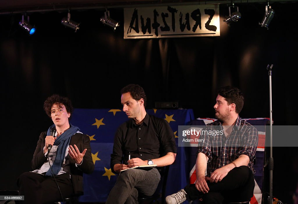 Mareike Kleine, Associate Professor of the European Union and international politics, event organizer John Worth, and Jeremy Cliffe, UK correspondent for The Economist, speak during a meeting for British citizens living in Germany to discuss the implications of Great Britain leaving the European Union, known popularly as Brexit, on May 26, 2016 in Berlin, Germany. On June 23, 2016, UK citizens will vote on a post-legislative referendum on the country's membership in the European Union. Many British proponents of leaving the EU argue that it would allow the UK to better control immigration as well as save billions in membership fees as well as control trade deals and legislation, while those who wish to remain believe that leaving would decrease both the country's influence in world affairs as well as its security, and cause trade barriers with the rest of Europe.