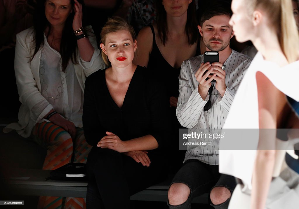 Mareike Massing and a guest attend the runway at the fashion talent award 'Designer for Tomorrow' by Peek & Cloppenburg and Fashion ID hosted by Alber Elbaz during the Mercedes-Benz Fashion Week Berlin Spring/Summer 2017 at Erika Hess Eisstadion on June 30, 2016 in Berlin, Germany.