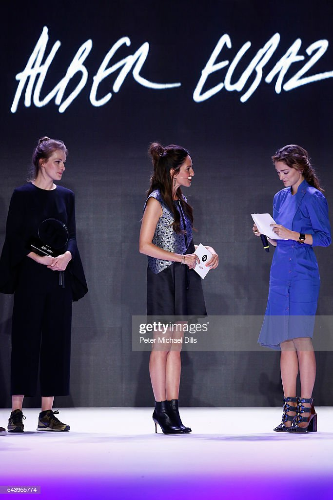 Mareike Massing, moderator <a gi-track='captionPersonalityLinkClicked' href=/galleries/search?phrase=Johanna+Klum&family=editorial&specificpeople=636185 ng-click='$event.stopPropagation()'>Johanna Klum</a>, dressed by Peek & Cloppenburg, and Sofia Sanchez de Betak talk at the fashion talent award 'Designer for Tomorrow' by Peek & Cloppenburg and Fashion ID hosted by Alber Elbaz during the Mercedes-Benz Fashion Week Berlin Spring/Summer 2017 at Erika Hess Eisstadion on June 30, 2016 in Berlin, Germany.