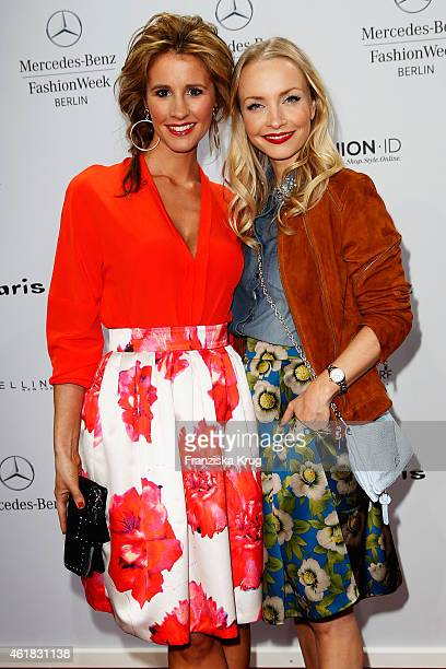 Mareile Hoeppner and Janin Reinhardt attends the Marc Cain show during the MercedesBenz Fashion Week Berlin Autumn/Winter 2015/16 at Brandenburg Gate...