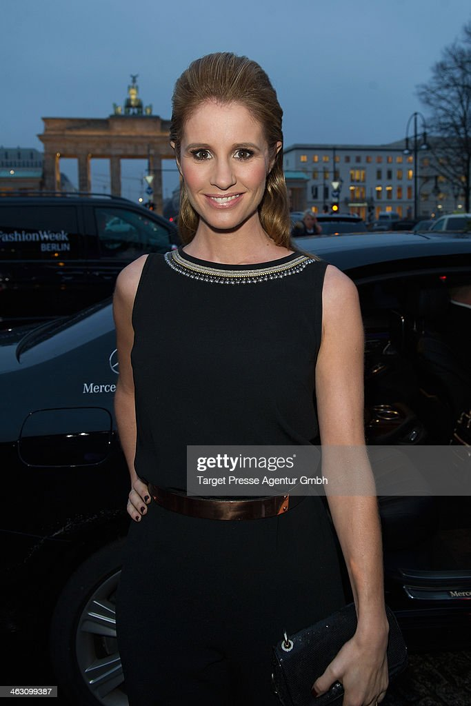 Mareile Hoeppner arrives at the Marc Cain show during Mercedes-Benz Fashion Week Autumn/Winter 2014/15 at Brandenburg Gate on January 16, 2014 in Berlin, Germany.